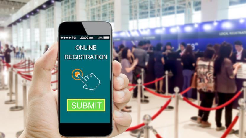 Accréditation, Enregistrement événement, en ligne