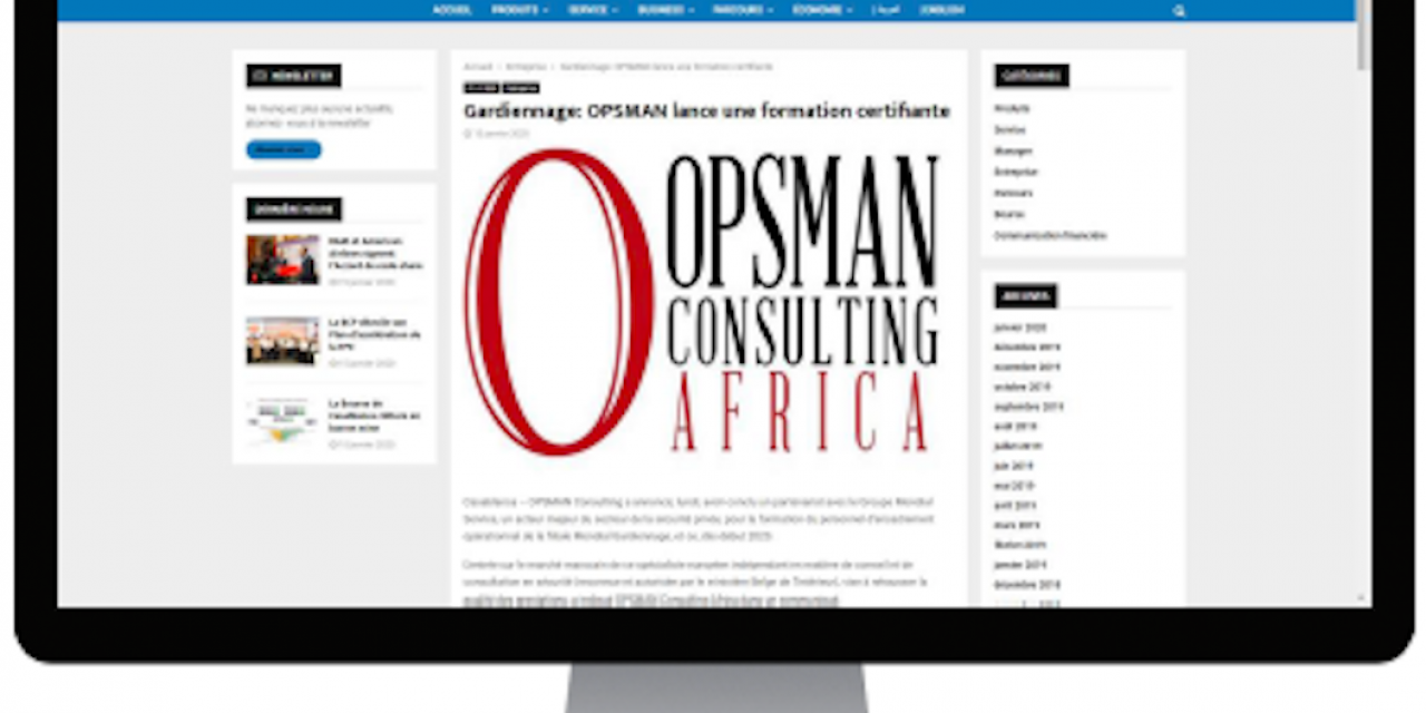 OPSMAN Consulting Africa in the Moroccan press for its certification training
